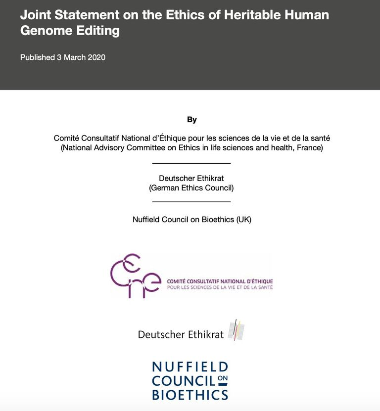 Joint statement on the ethics of heritable human genome editing