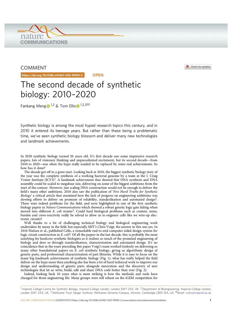 The second decade of synthetic biology: 2010–2020