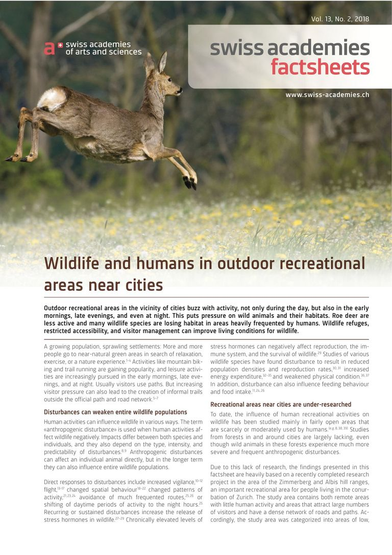 Wildlife and humans in outdoor recreational areas near cities
