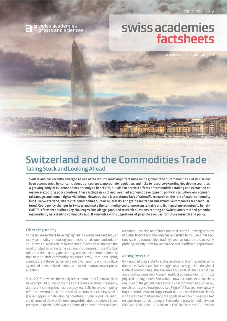 Swiss Academies Factsheets Vol. 11, No 1, 2016: Switzerland  and the Commodities Trade