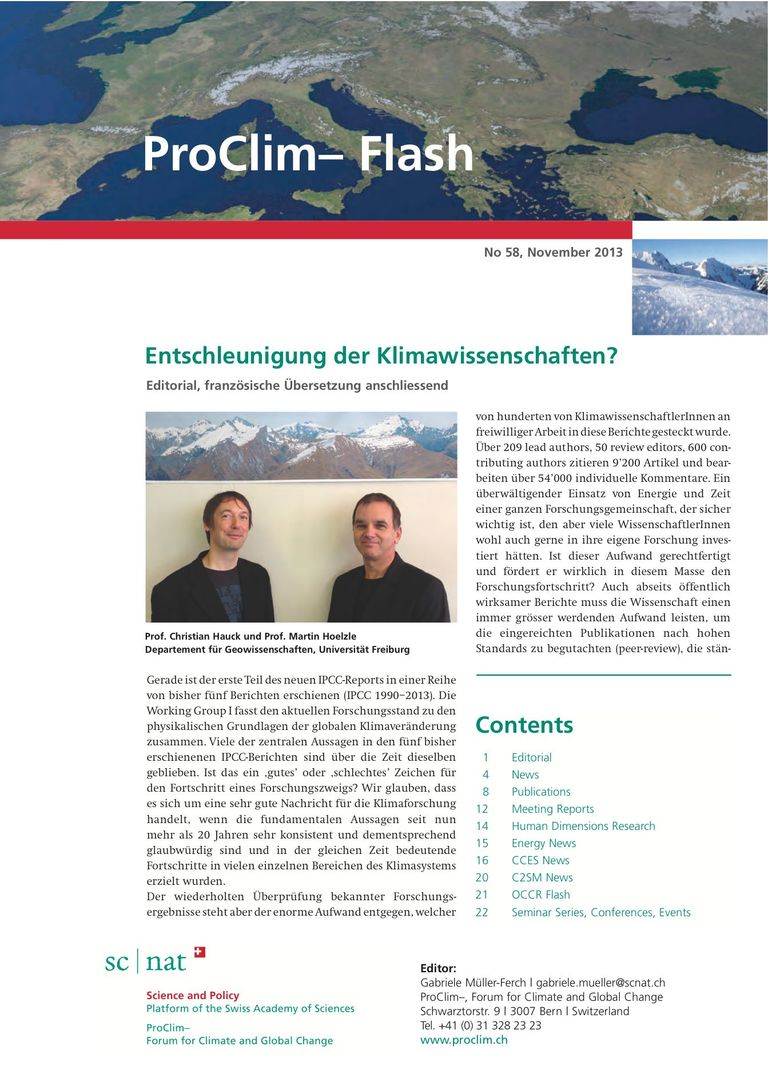 entire publication: ProClim- Flash 58 / Edito Christian Hauck and Martin Hoelzle