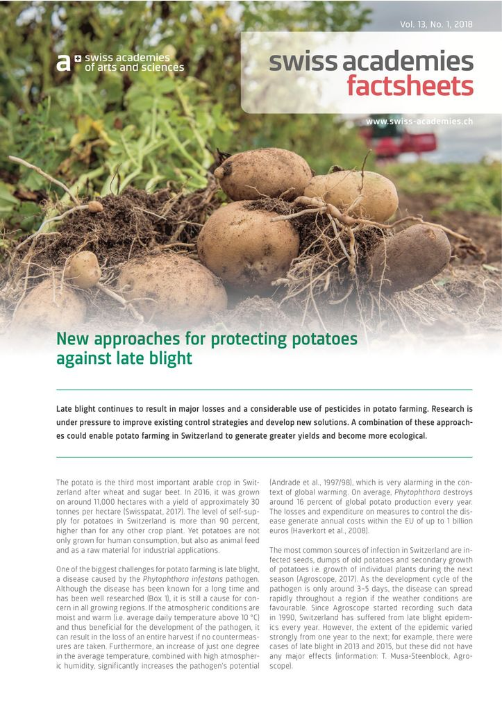 Factsheet «New approaches for protecting potatoes against late blight»