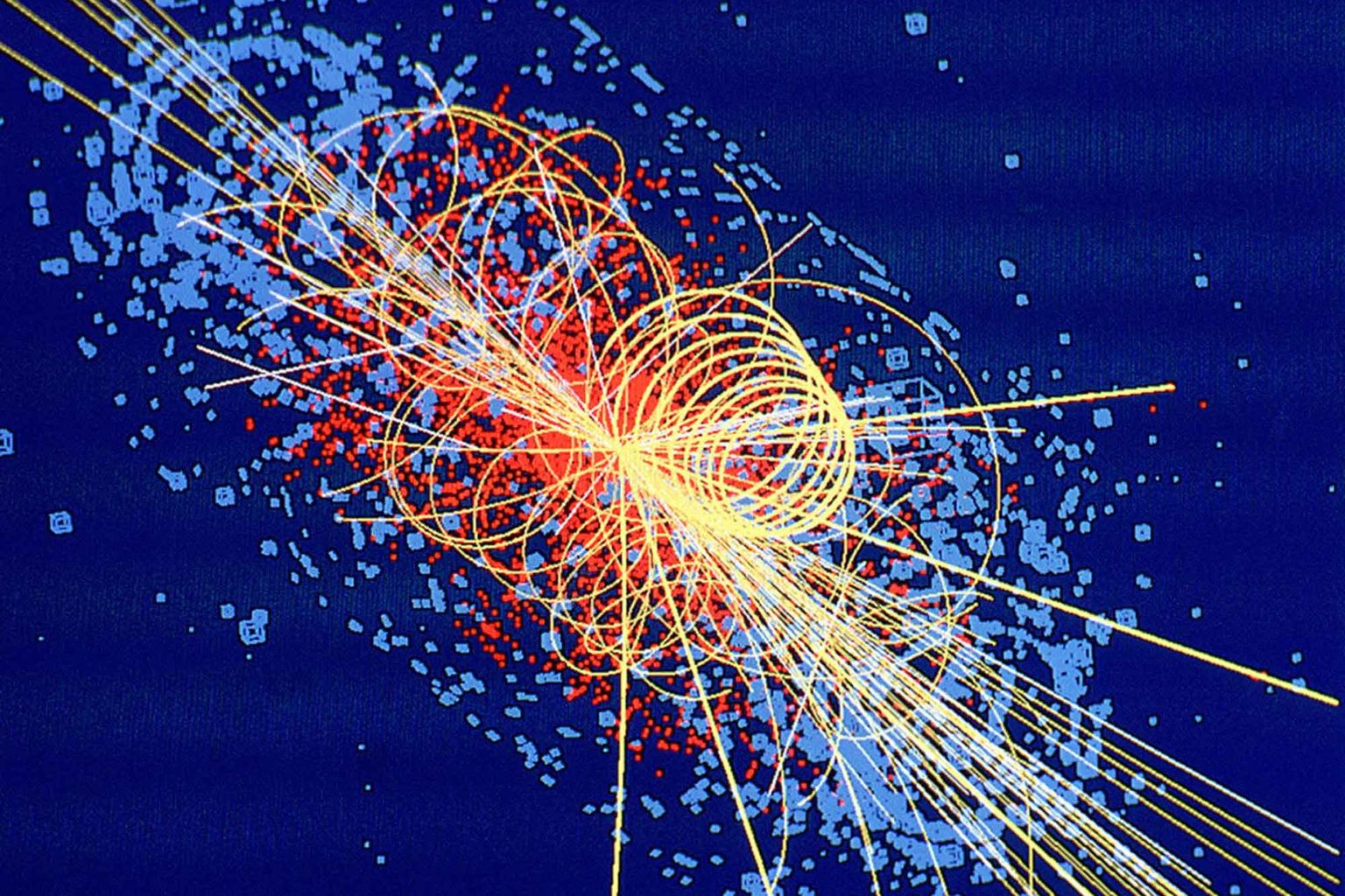 Higgs boson: Protons collide at 14 TeV in this simulation from CMS, producing four muons. Lines denote other particles, and energy deposited is shown in blue