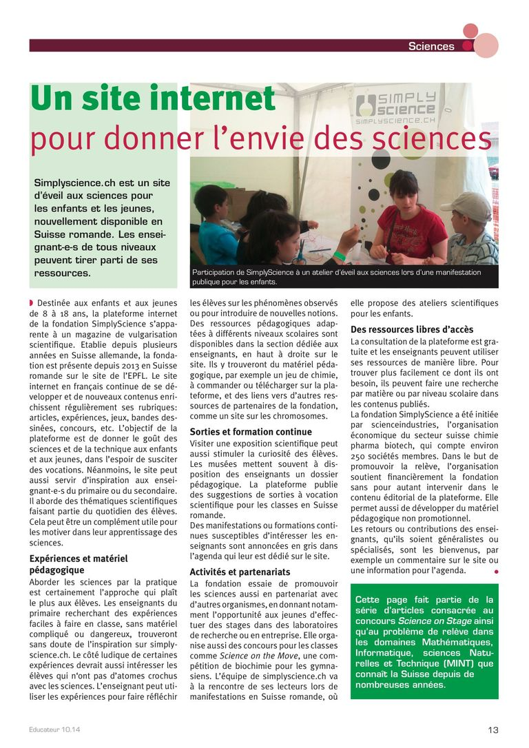 Simply Science - l'Educateur 10/14