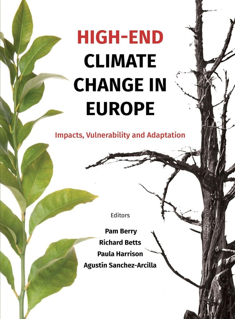 High-end climate scenarios in Europe, cover of the joint IMPRESSIONS, HELIX and RISES-AM- policy booklet.