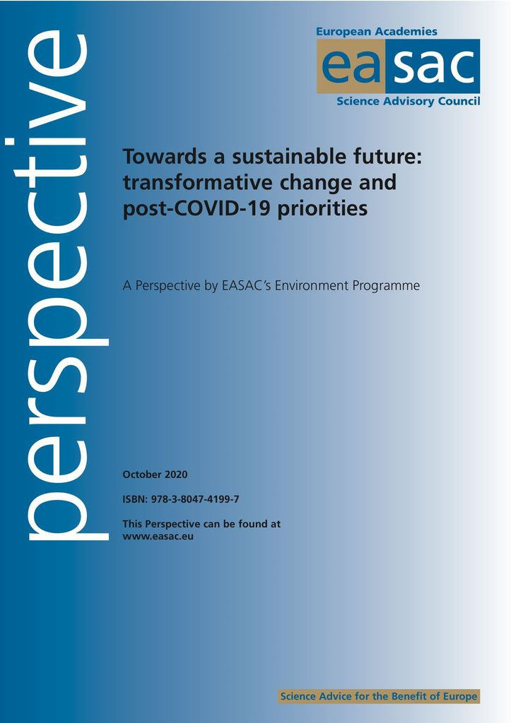 "EASAC Perspective ""Towards a sustainable future*"