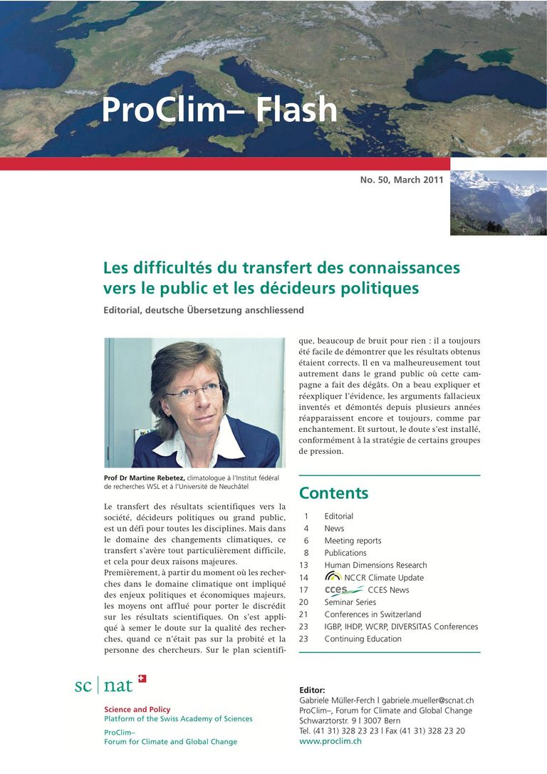 entire publication: ProClim- Flash 50 / Edito Martine Rebetez