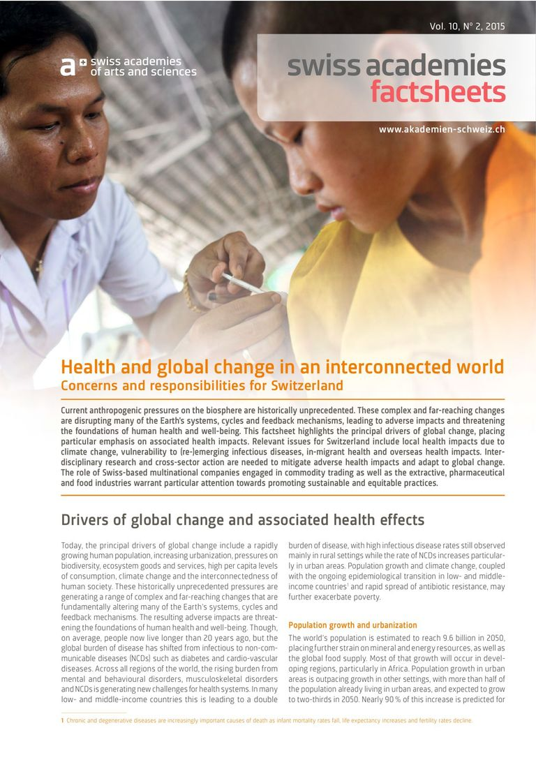 Health and global change in an interconnected world - Concerns and responsibilities for Switzerland