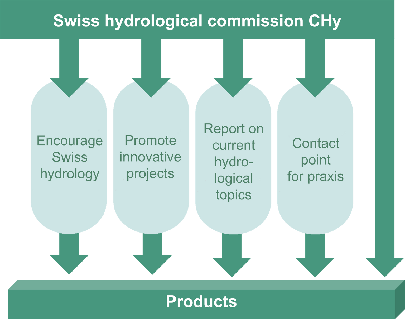 Four pillars of the activities of the Swiss Hydrological Commission