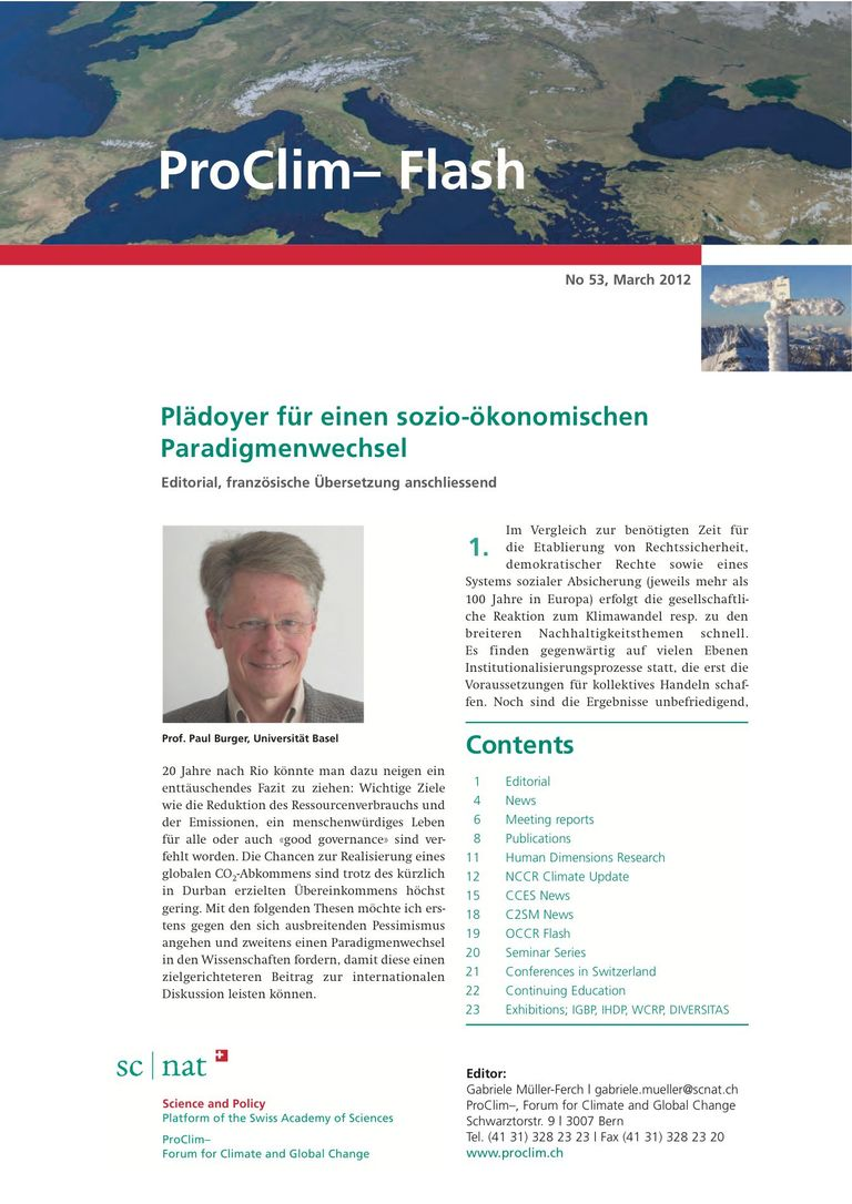 entire publication: ProClim- Flash 53 / Edito Paul Burger
