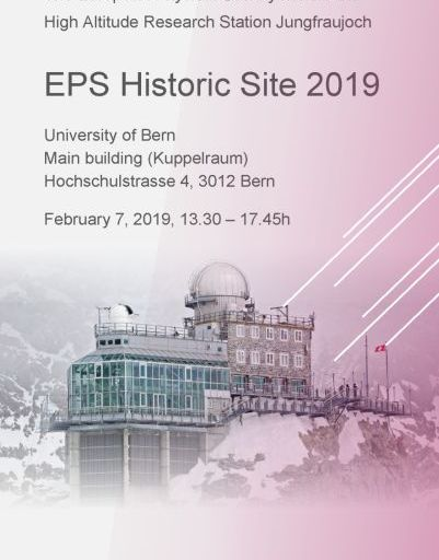 Cover Flyer EPS Historic Site 2019 awarded to Jungfraujoch