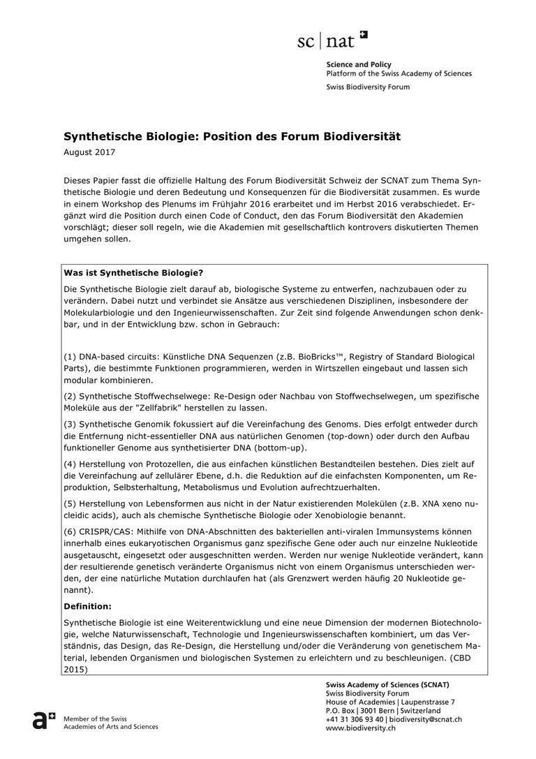Positionspapier synthetische Biologie