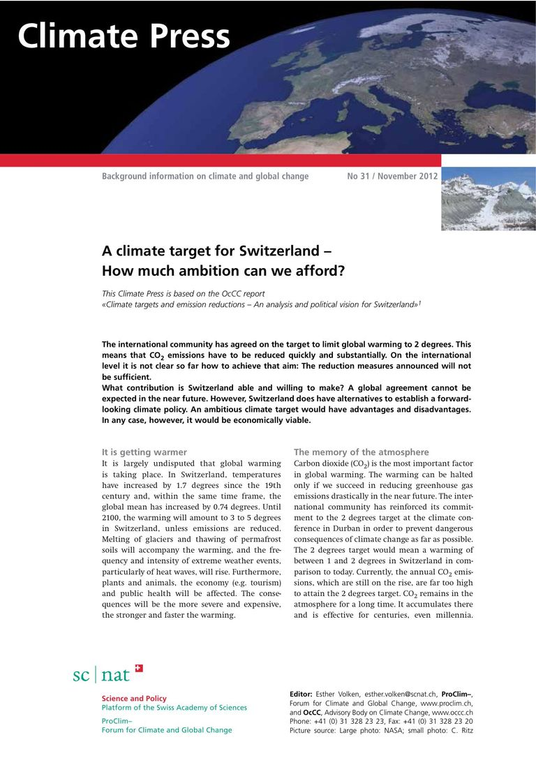 Download Climate Press: A climate target for Switzerland - How much ambition can we afford?