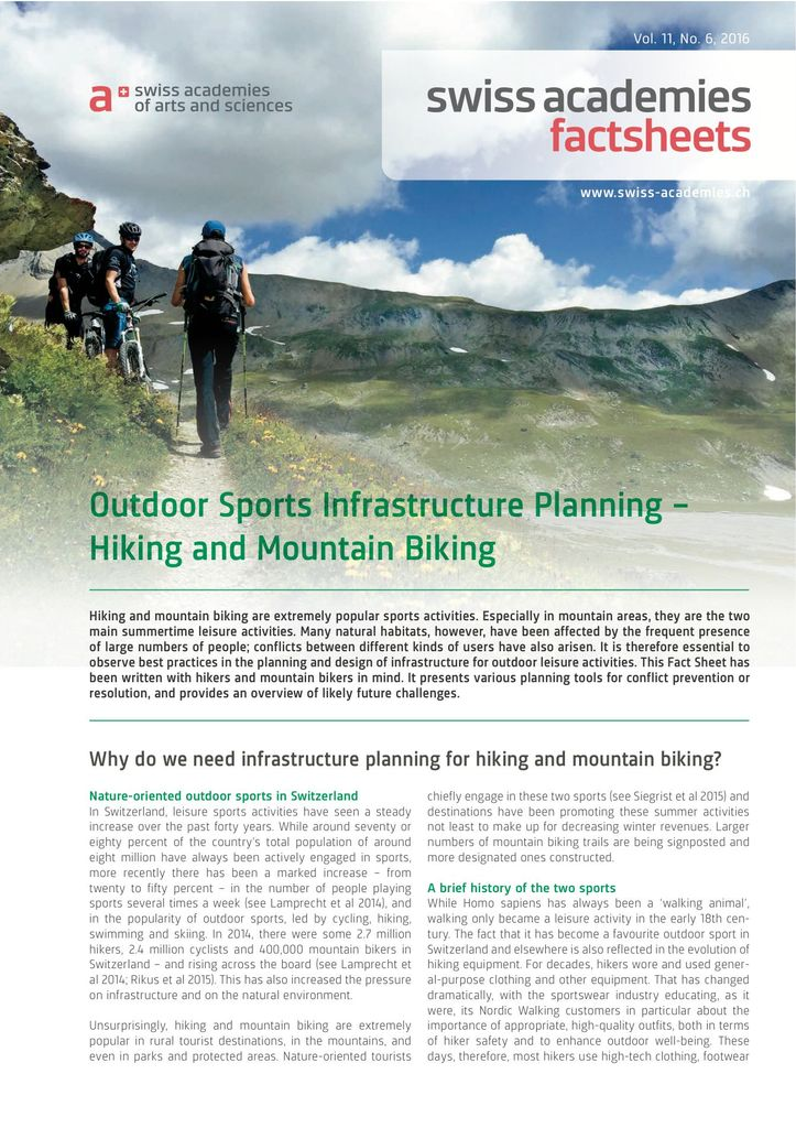 Outdoor Sports Infrastructure Planning – Hiking and Mountain Biking