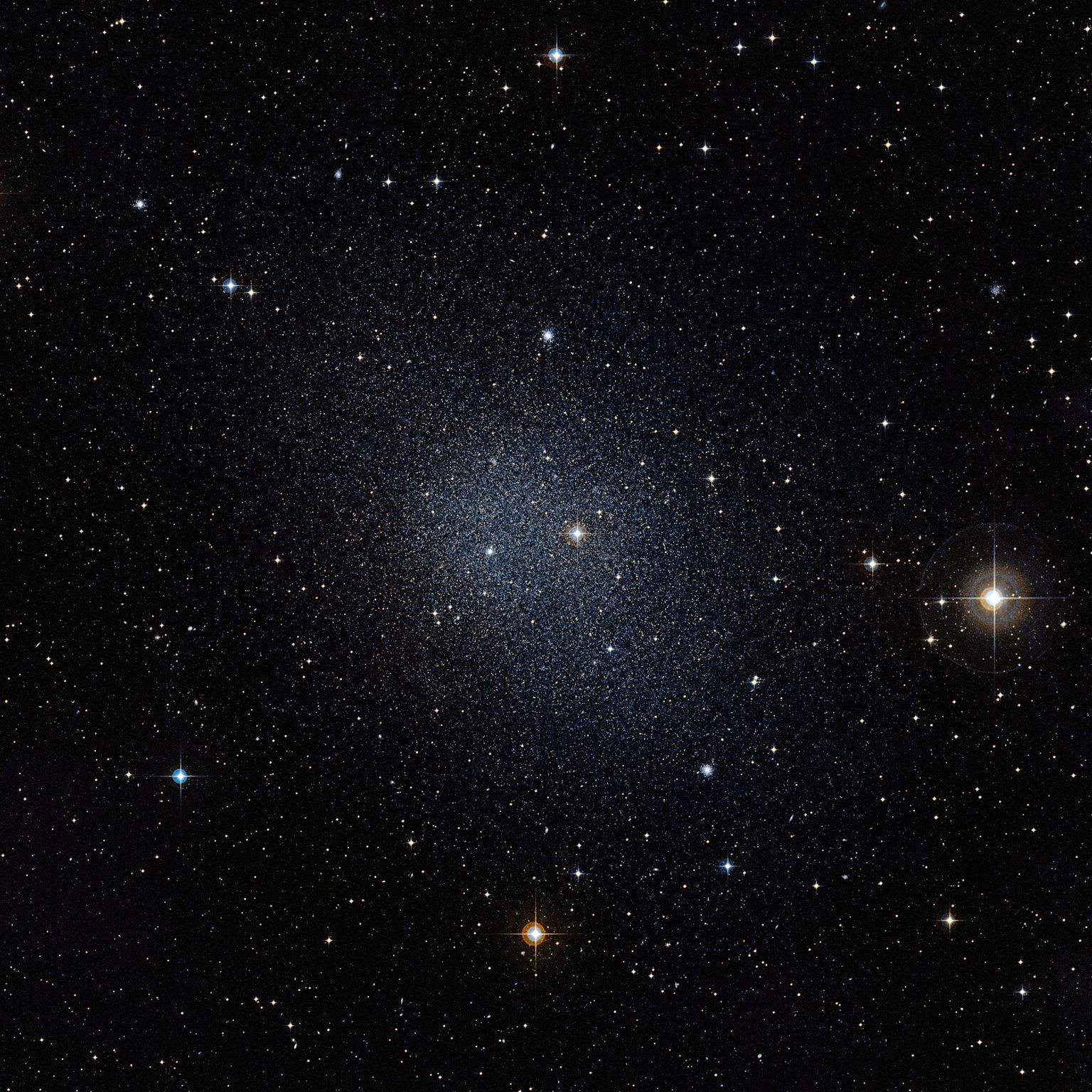 One of the dwarf galaxies which is orbiting around our Milky Way galaxy as part of a planar structure.