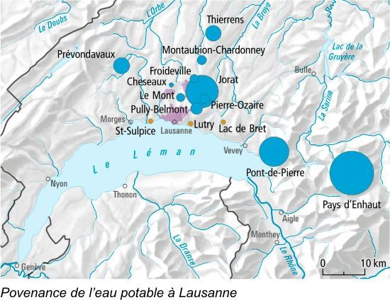 Provenance de l'eau potable à Lausanne