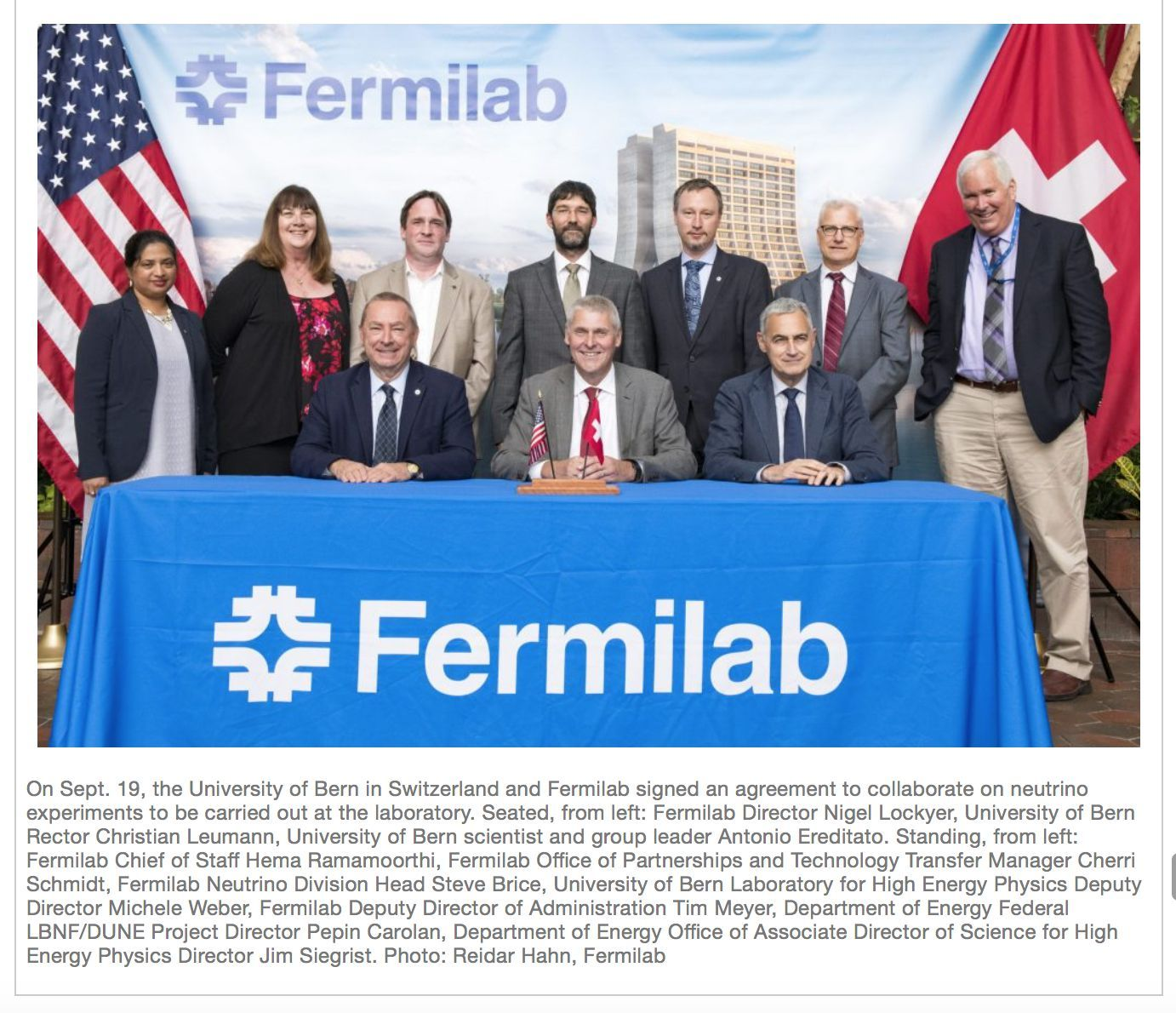 Fermilab and University of Bern join forces for neutrino physics