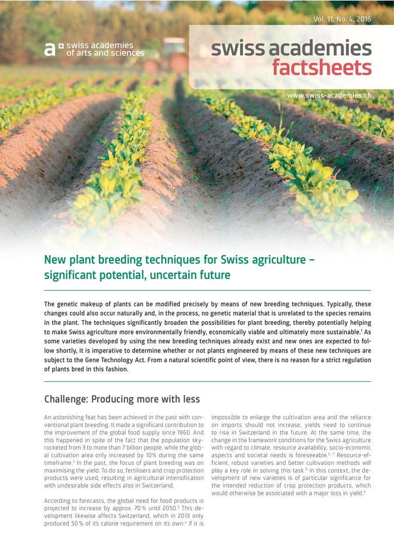Factsheet «New plant breeding techniques for Swiss agriculture – significant potential, uncertain future»