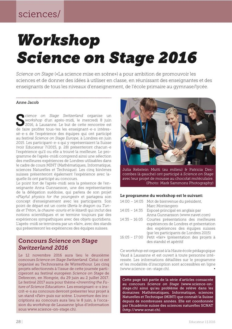 Workshop Science on Stage 2016