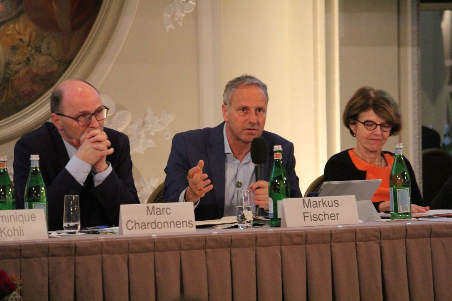 Marc Chardonnens (FOEN), Markus Fischer (ECA Co-Chair), Anne Larigauderie (Executive Secretary of IPBES)
