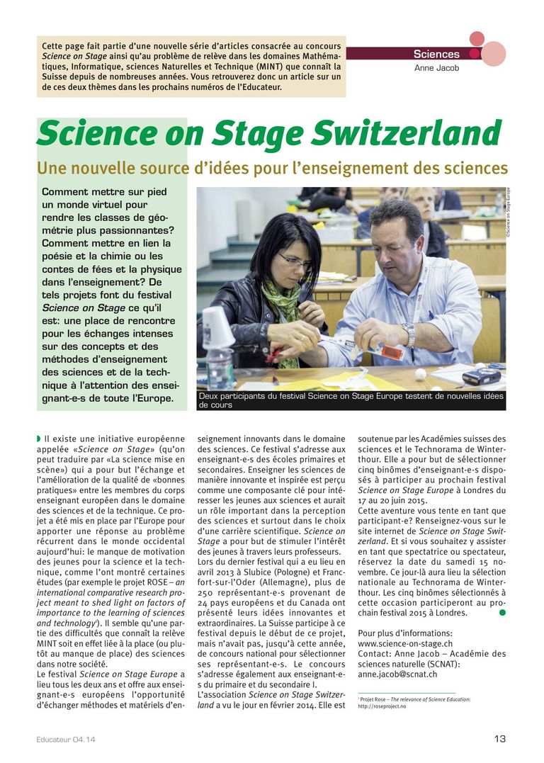 Science on Stage - l'educateur 4/14