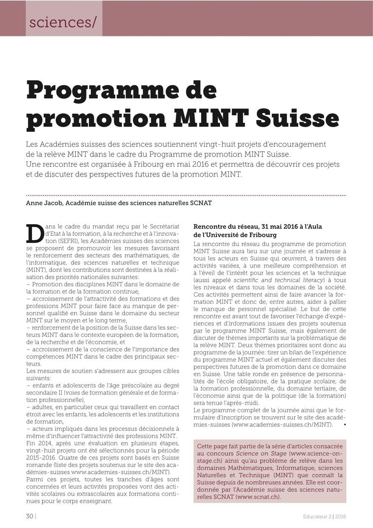 Programme MINT - l'Educateur 02/16