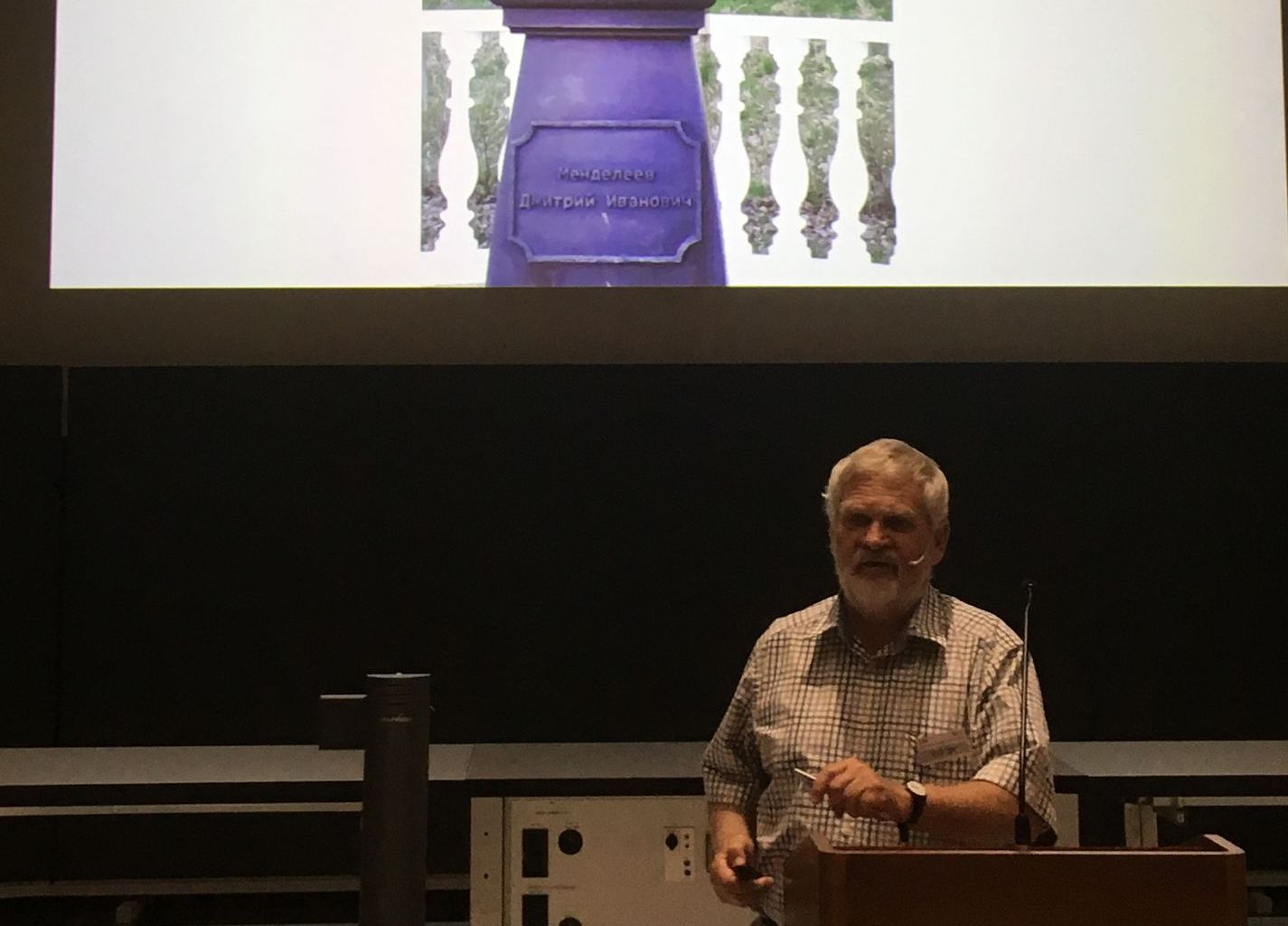 "Heinz Gäggeler speaking at the symposium ""On the Origin of the Elements"" (IYPT 2019)"