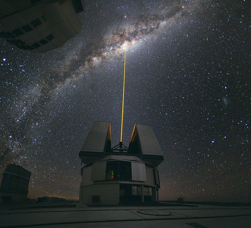 ESO's Very Large Telescope (VLT) during the testing of the new Laser Guide Star Facility (LGSF), which allows astronomers to correct for most of the disturbances caused by the constant movement of the atmosphere in order to create much sharper images.