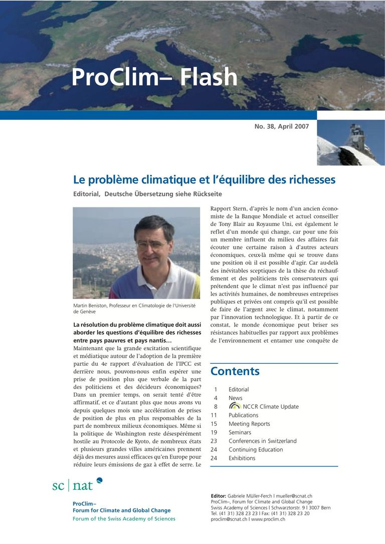 download entire publication: ProClim- Flash 38 / Edito Martin Beniston