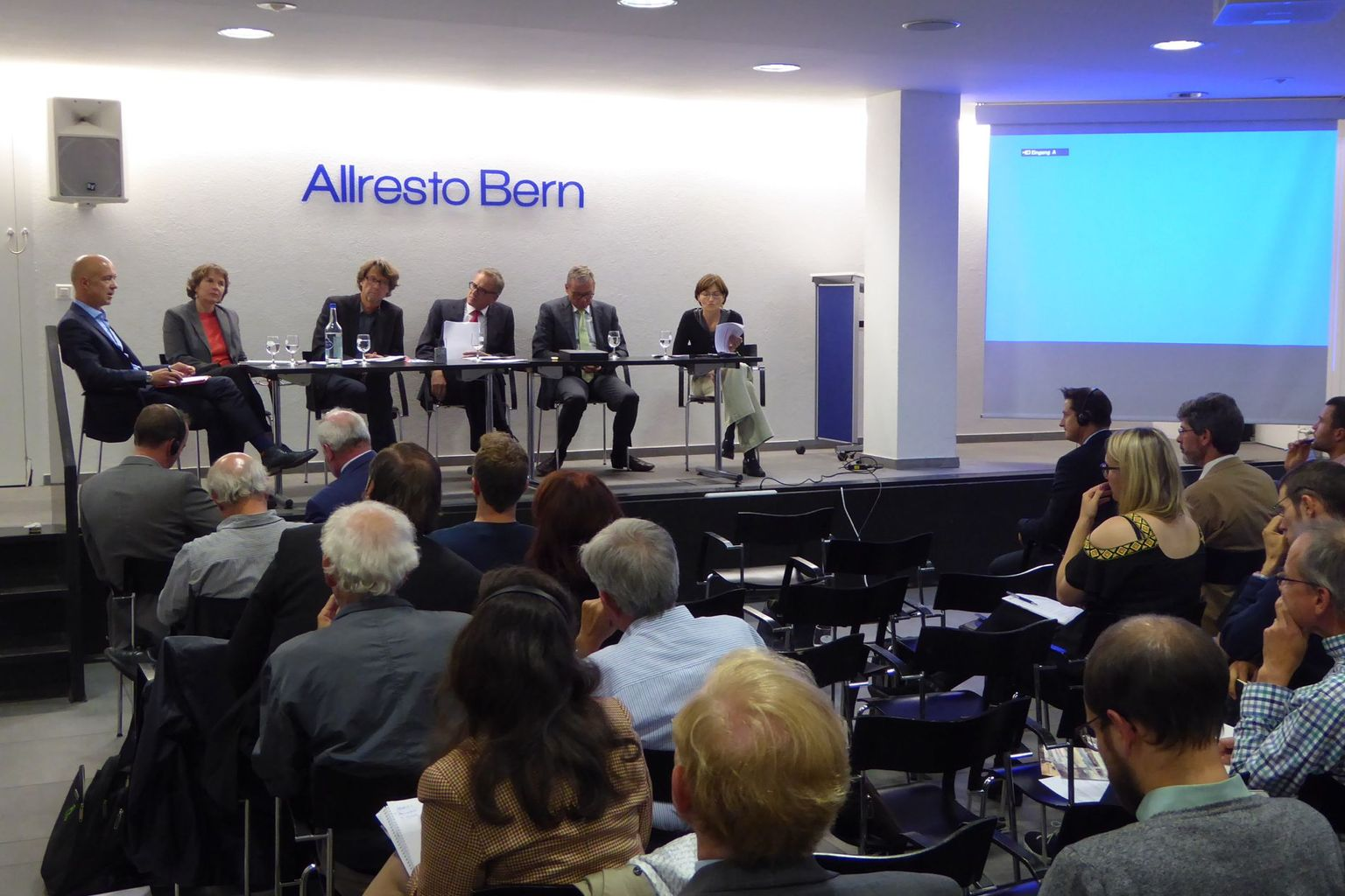 Panel-Discussion 20.9. 2016 with M. Fasser, E. Bürgi, A.Missbach, S. Barmettler (moderator), R. Noser and R. Rytz