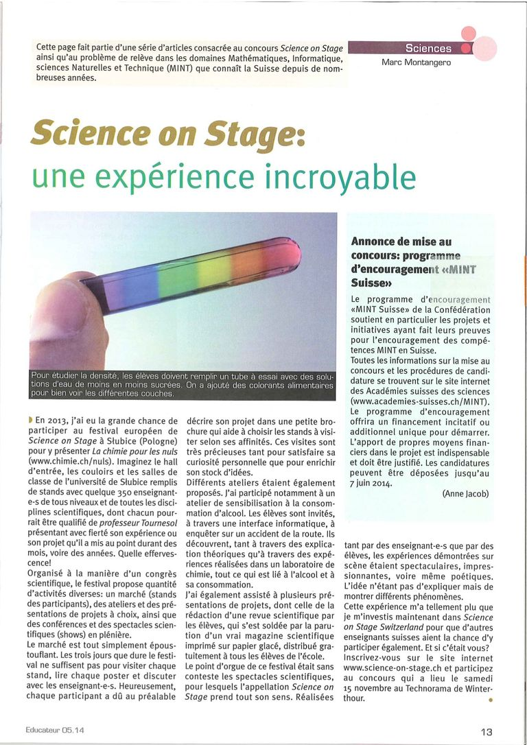 Science on Stage - l'Educateur 5/14