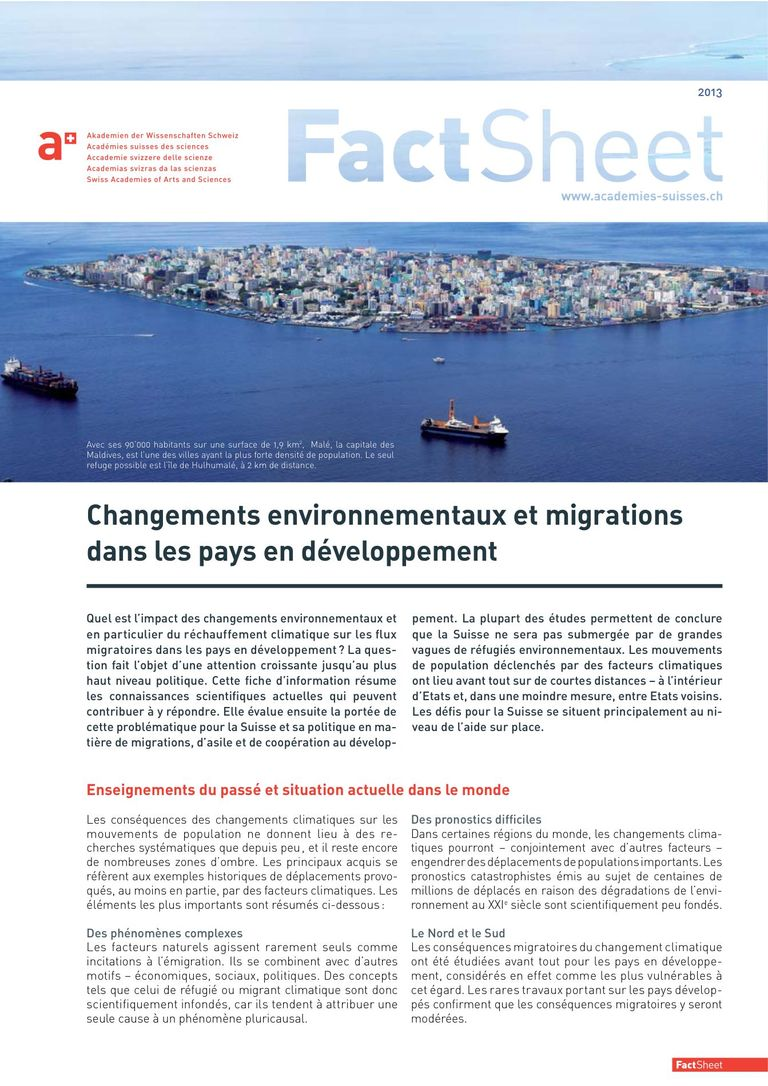 Factsheet Chagements environmentals et migrations dans les pays en development