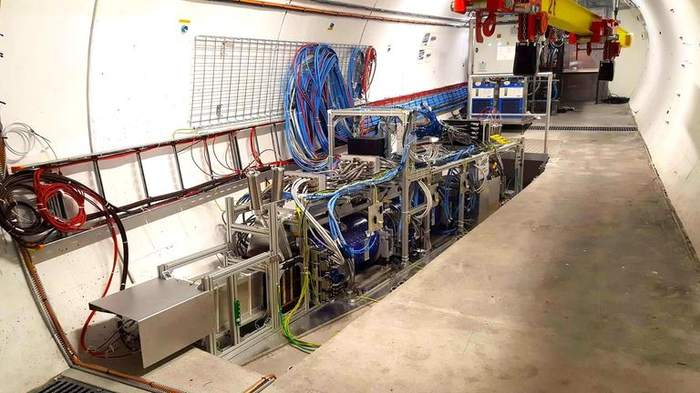 The FASER detector at CERN, in a tunnel 80 metres below the Earth's surface. The detector is aligned in such a way that it detects those particles that are created in proton-proton collisions in the ATLAS experiment and fly straight on from there without deflection.