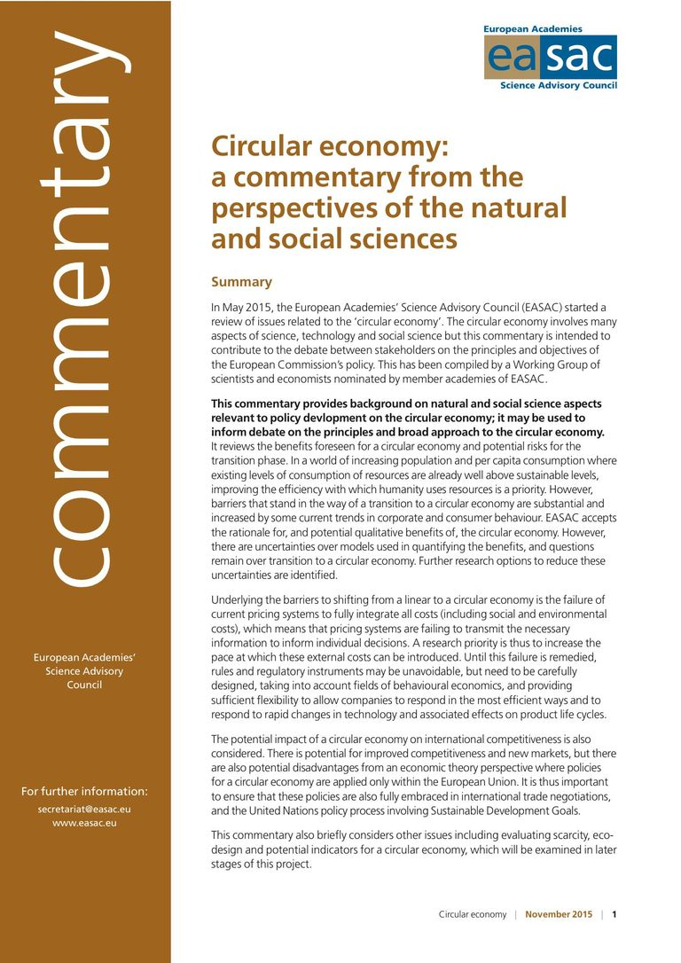 "EASAC Commentary ""Circular economy: a commentary from the perspectives of the natural and social sciences"""